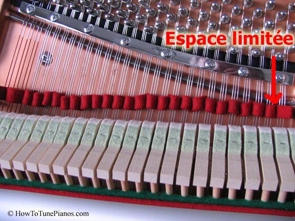 Espace limité pour accorder un piano